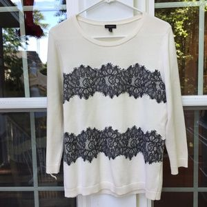 Talbots Ivory Lace Pullover Sweater